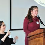 UOD teen Program Speaker Hannah G speaks, Jody Steiner interprets in ASL