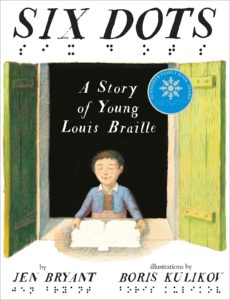 Image shows cover art for book Six Dots; drawing of Louis Braille as a teenager with a book in front of him